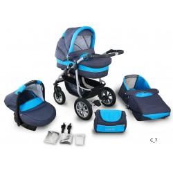 Coral wózek dziecięcy wielofunkcyjny Krasnal 3w1 granatowo-niebieski
