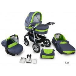 Coral wózek dziecięcy wielofunkcyjny Krasnal 3w1 zielony
