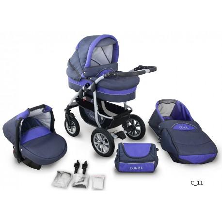 Coral wózek dziecięcy wielofunkcyjny Krasnal 3w1 fioletowy