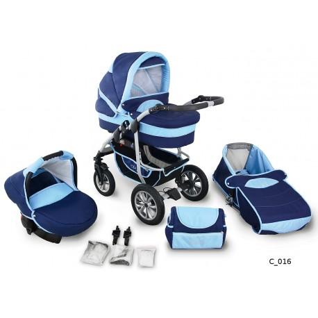 Coral wózek dziecięcy wielofunkcyjny Krasnal 3w1 granatowo błękitny