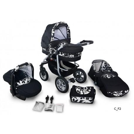 Coral wózek dziecięcy wielofunkcyjny Krasnal 3w1 czarny w kwiaty