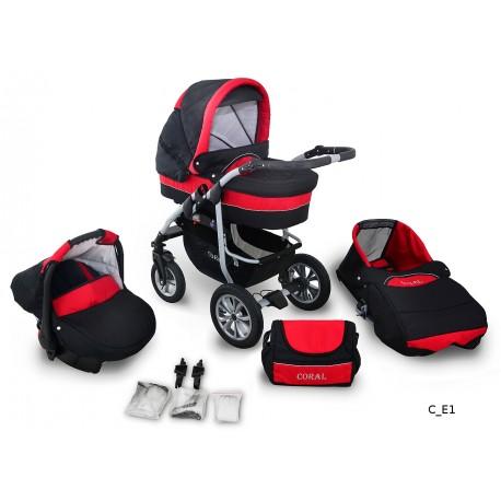 Coral wózek dziecięcy wielofunkcyjny Krasnal 3w1 czarno czerwony