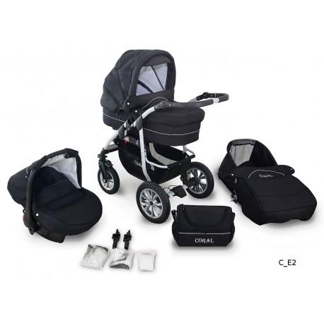 Coral wózek dziecięcy wielofunkcyjny Krasnal 3w1 czarny