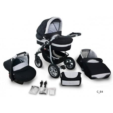 Coral wózek dziecięcy wielofunkcyjny Krasnal 3w1 czarno szary