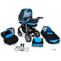 Coral wózek dziecięcy wielofunkcyjny Krasnal 3w1 czarno niebieski