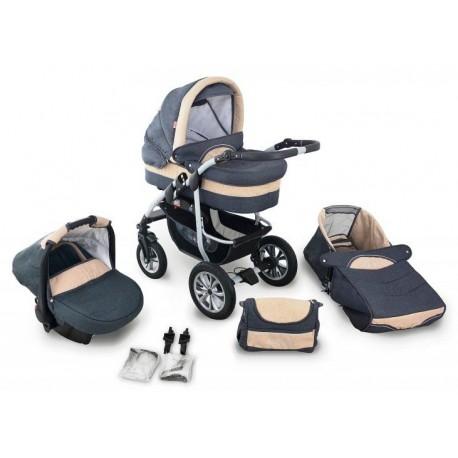 Coral len wózek dziecięcy wielofunkcyjny Krasnal 3w1 szary + beż