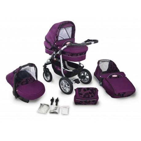 Coral len wózek dziecięcy wielofunkcyjny Krasnal 3w1 fioletowy