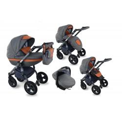 I-XEO wózek dziecięcy Krasnal wielofunkcyjny 3w1 pomarańczowy