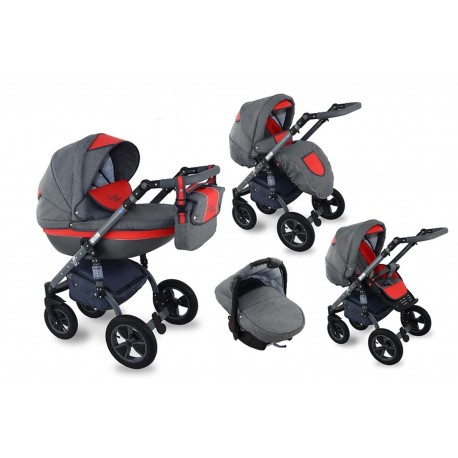I-XEO wózek dziecięcy Krasnal wielofunkcyjny 3w1 czerwony