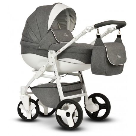 Wózek dziecięcy Cosmo Len szaro biały Vega gondola+stelaż