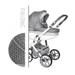 Wózek dziecięcy Faster 3 Style Baby Merc wielofunkcyjny szary w groszki na białej ramie 3w1