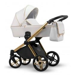 Biały na złotej ramie wózek dziecięcy wielofunkcyjny Emotion XT w wersji eco Lonex zestaw 3w1