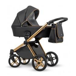 Złoto-czarny wózek dziecięcy wielofunkcyjny Emotion XT 2018 w wersji eco Lonex zestaw 3w1