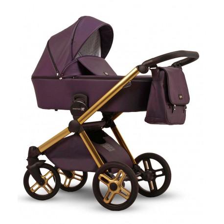 Złoto-fioletowy wózek dziecięcy wielofunkcyjny Emotion XT w wersji eco Lonex zestaw 3w1