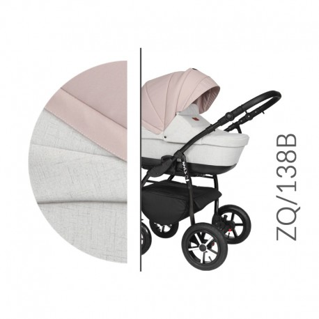 Baby Merc ZipyQ  3w1 wózek dziecięcy wielofunkcyjny szaro różowy