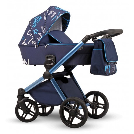Wózek dziecięcy wielofunkcyjny Emotion XT Print Lonex zestaw 3w1 niebieski