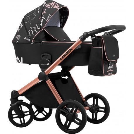 Wózek dziecięcy wielofunkcyjny Emotion XT Print Lonex zestaw 3w1 czarny na miedzianej ramie