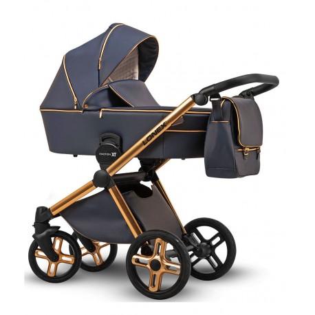 Granatowy na złotej ramie wózek dziecięcy wielofunkcyjny Emotion XT w wersji eco Lonex zestaw 3w1