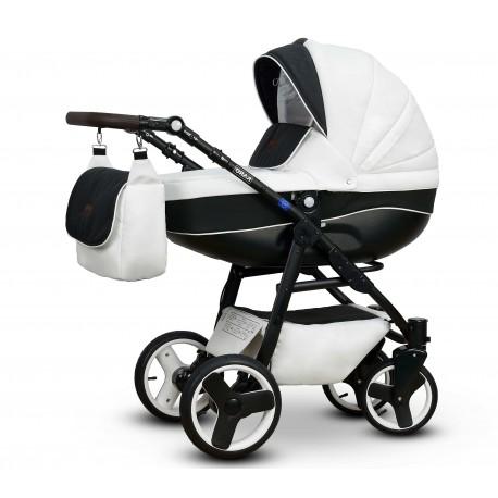 Karo Vega wózek dziecięcy wielofunkcyjny biało czarny gondola + stelaż