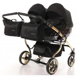 Wózek Junama Diamond S Line Duo dziecięcy bliźniaczy 3w1 BLACK