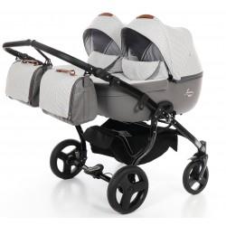 Junama Madena Duo wózek dziecięcy bliźniaczy 3w1 z 2 fotelikami samochodowymi