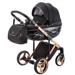 Adamex Chantal Special Edition wózek dziecięcy wielofunkcyjny 4w1 (z bazą isofix)  czarny miedziany