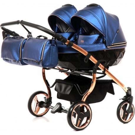 JUNAMA FLUO LINE DUO 2w1 wózek bliźniaczy wielofunkcyjny niebieski