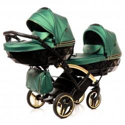 Wózek bliźniaczy JUNAMA FLUO LINE DUO SLIM  4w1