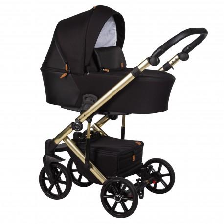 Wózek dziecięcy wielofunkcyjny Mosca Limited Baby Merc 2w1 czarny na złotej ramie