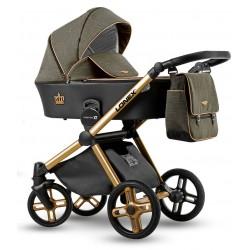 Zielono złoty wózek dziecięcy wielofunkcyjny Emotion XT Lonex zestaw 3w1