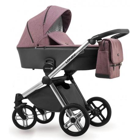 Fioletowy wózek dziecięcy wielofunkcyjny Emotion XT Lonex zestaw 3w1