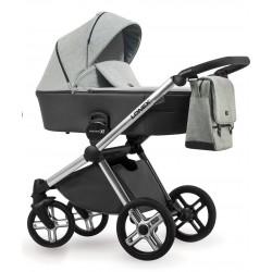 Popielaty wózek dziecięcy wielofunkcyjny Emotion XT Lonex zestaw 3w1