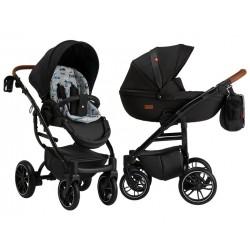 Wózek dziecięcy wielofunkcyjny Grander Play Tutek Girl and Boy czarny z wkładką w auta zestaw 3w1