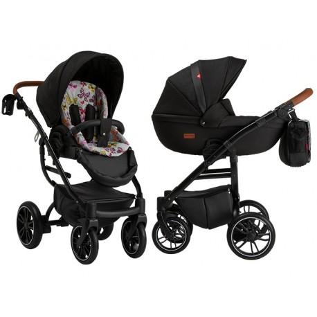 Wózek dziecięcy wielofunkcyjny Grander Play Tutek Girl and Boy czarny z bawełnianą wkładką zestaw 3w1