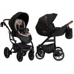 Wózek dziecięcy wielofunkcyjny Grander Play Tutek Girl and Boy czarny z bawełnianą wkładką zestaw 4w1