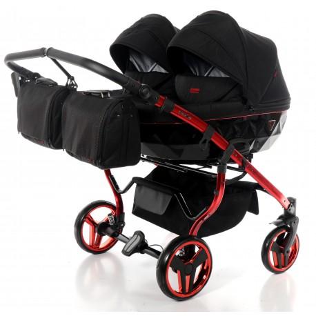 JUNAMA DIAMOND INDIVIDUAL DUO wózek bliźniaczy 3w1 czerwony