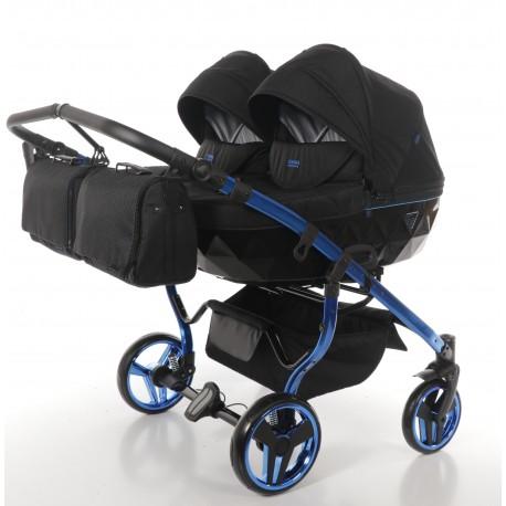 JUNAMA DIAMOND INDIVIDUAL DUO wózek bliźniaczy 3w1 niebieski