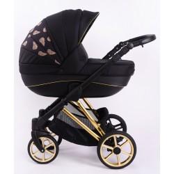 Wózek dziecięcy Princess 4w1 z bazą isofix czarno-złoty Nowość !