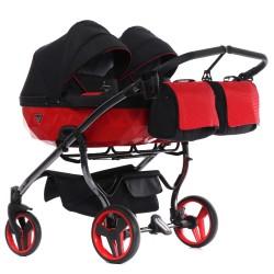 Wózek JUNAMA DIAMOND S LINE DUO  dziecięcy bliźniaczy 3w1 czerwony