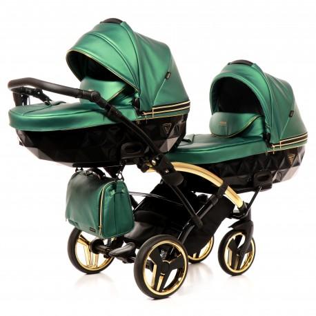 Wózek bliźniaczy JUNAMA FLUO LINE DUO SLIM  3w1 zielony