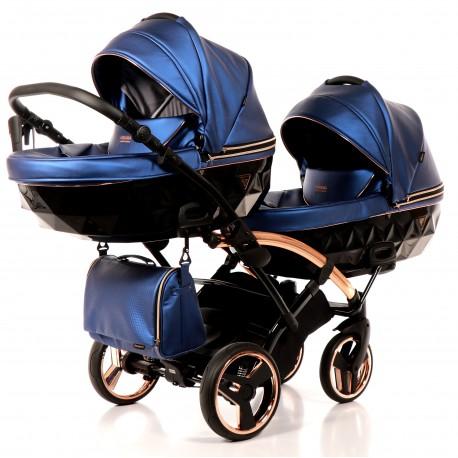 Wózek bliźniaczy JUNAMA FLUO LINE DUO SLIM  3w1 niebieski
