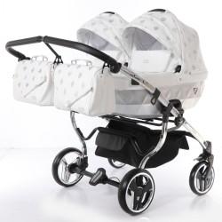 Wózek bliźniaczy JUNAMA GLOW DUO 3w1 srebrny