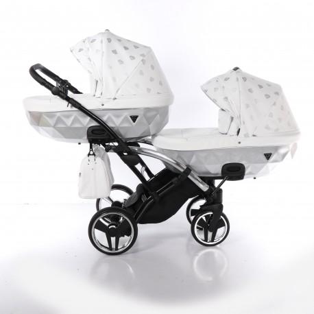 Wózek bliźniaczy JUNAMA GLOW DUO SLIM 3w1 srebrny