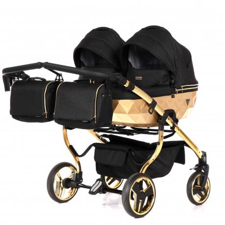 Wózek dziecięcy bliźniaczy JUNAMA MIRROR SATIN DUO 3w1 czarno-złoty