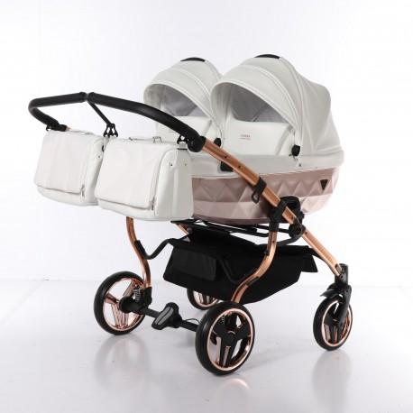 Wózek dziecięcy bliźniaczy JUNAMA MIRROR SATIN DUO 3w1 biało-srebrny