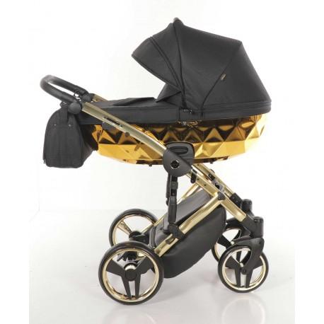 JUNAMA MIRROR Błysk wózek dziecięcy wielofunkcyjny 3w1Złoty na złotej ramie
