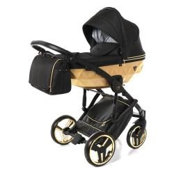 JUNAMA MIRROR SATIN wózek wielofunkcyjny 3w1 Czarno Złoty