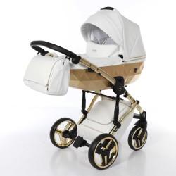 JUNAMA MIRROR SATIN wózek wielofunkcyjny 3w1 Biało Złoty