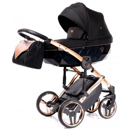 Wózek  Junama Onyx dziecięcy wielofunkcyjny 3w1 miedziany  z fotelikiem samochodowym