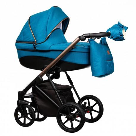 Wózek dziecięcy FX Paradise Baby 2w1 niebieski z miedzianym stelażem